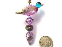 Lampwork glass bird ornament using beads and headpin