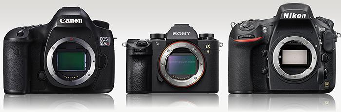 Сравнение габаритов Sony A9, Nikon D810 и Canon EOS 5DS R