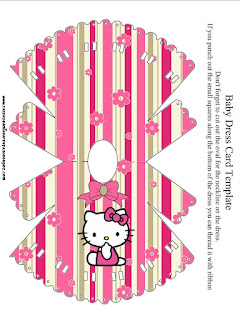 Hello Kitty with Flowers, Free Printable Baby Dress Card Invitation.