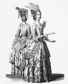Two ladies in the newest dress  from drawings taken at Ranelagh May 1775  from The Lady's Magazine (1775)