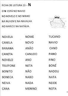 Ficha de leitura - Alfabetização.