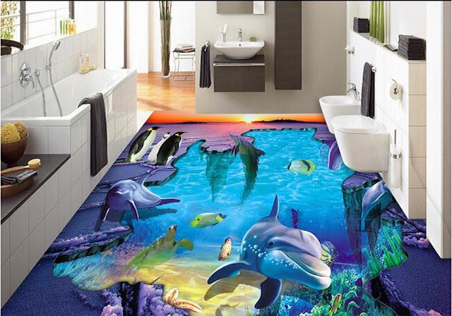 bathroom 3D flooring realistic dolphines theme