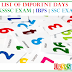 List of importnt days | uksssc Exam | IBPS EXAM | SSC EXAM
