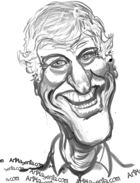 Dick Van Dyke caricature cartoon. Portrait drawing by caricaturist Artmagenta.