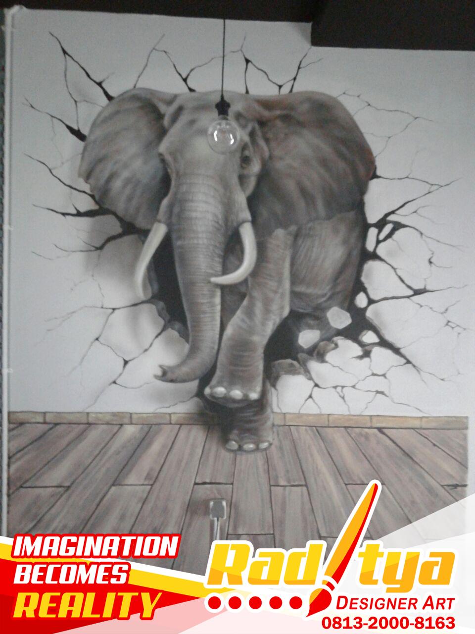 Lukisan Dinding 3d : lukisan, dinding, Lukisan, Mural, Dinding