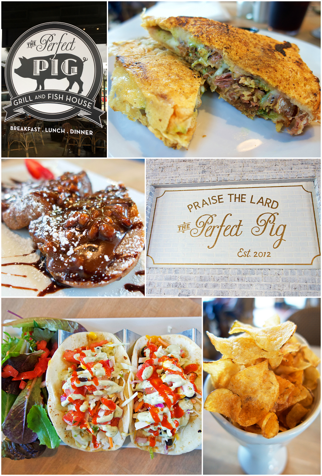 The Perfect Pig - Santa Rosa Beach, FL - A MUST if you are on 30A. The fish tacos are life changing! The Parmesan Crusted Grilled Cheese is the best I've ever eaten! You MUST eat here!