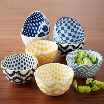 What I'm Loving Right Now: Ikat. Incorporate this trend into your home with these Ikat printed bowls!