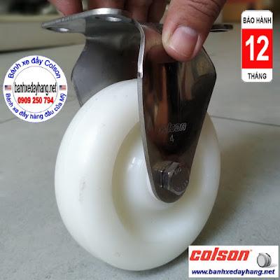 Bánh xe PA phi 100 không xoay càng inox 304 Colson Mỹ | 2-4408-254 www.banhxepu.net