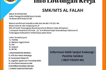 Lowongan Kerja SMK/MTS Al Falah Tasikmalaya