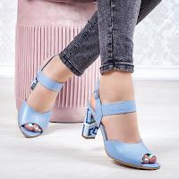Sandale Piele cu toc dama albastru deschis