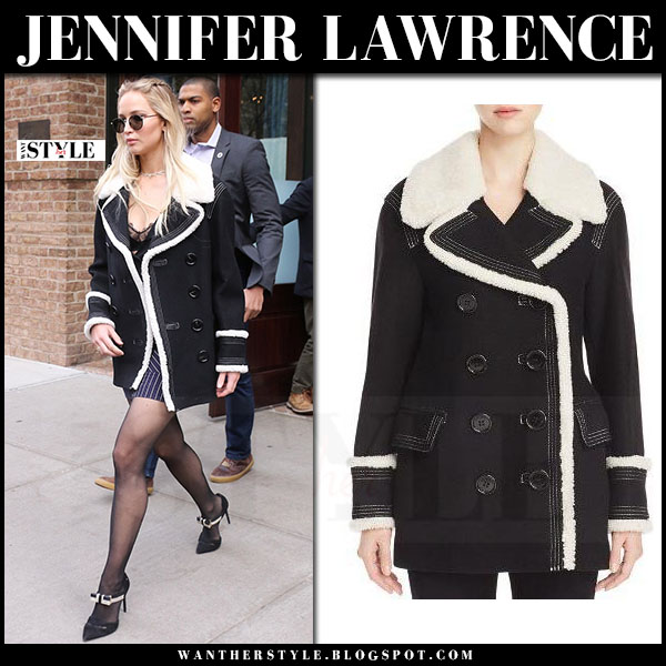 Jennifer Lawrence in black shearling peacoat burberry colstead and black pumps nicholas kirkwood omi what she wore
