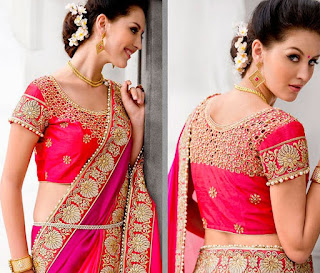 shaded-pink-unique-border-work-satin-chiffon-wedding-saree-with-blouse
