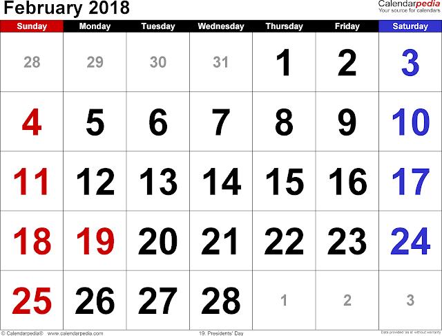 February 2018 Calendar, February 2018 Calendar Template, February 2018 Calendar Printable, February Calendar 2018, Calendar February 2018, February 2018 Calendar PDF