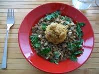 rezept vegan linsen mit räuchertofu und semmelknödel hautpspeise