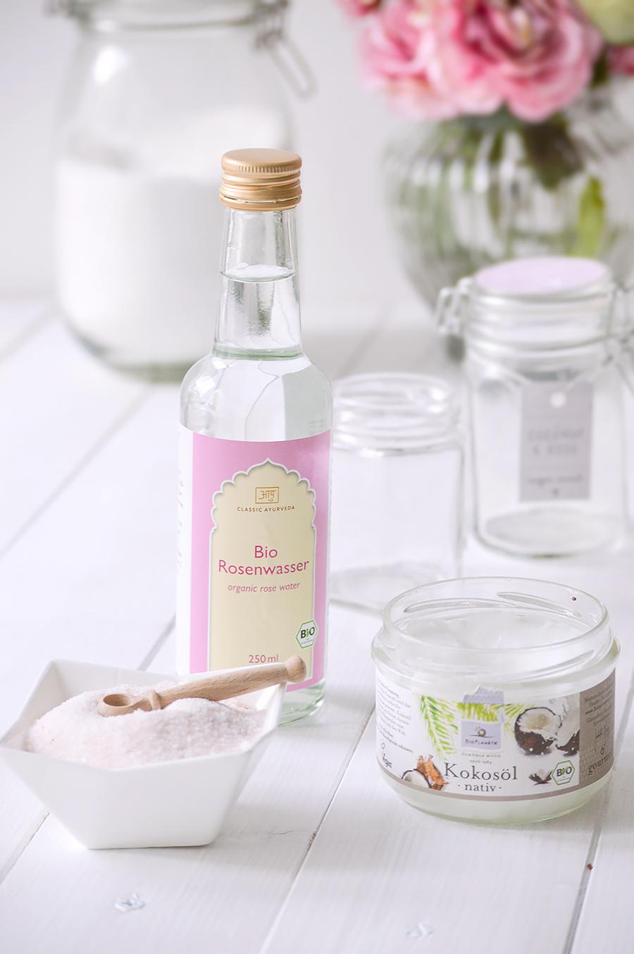 DIY Body Scrub mit Rosenwasser und Limette Zutaten