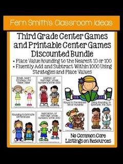 Fern Smith's Classroom Ideas Third Grade Math Unit One Center Games with No Common Core at TeacherspayTeachers.