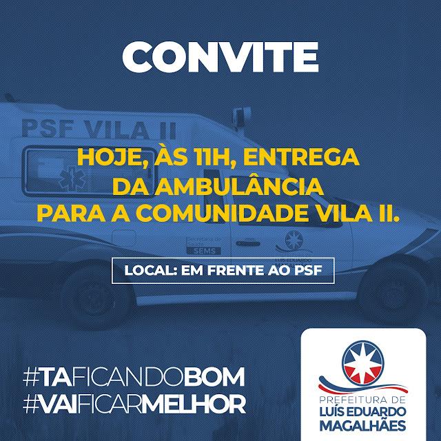 LEM: Prefeito entrega ambulância nesta sexta-feira na Vila II
