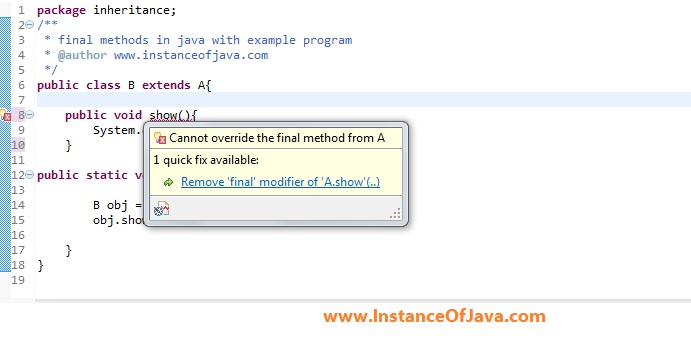final method in java with example program