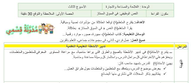 جذاذات الوحدة الرابعة للمفيد في اللغة العربية وفق المنهاج المنقح 2019 للسنة الرابعة