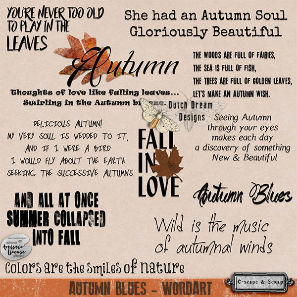 autumn blues wordart