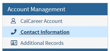 Account Management button on CalCareers