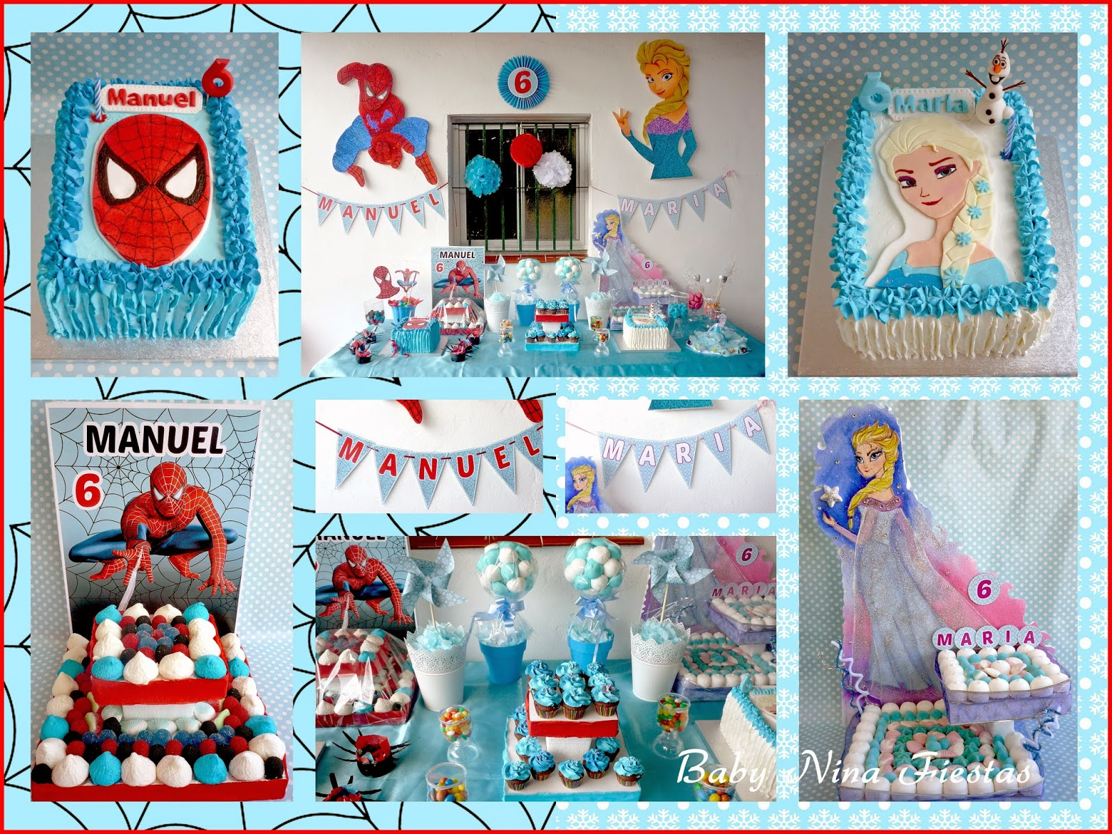 collage fiesta doble spiderman frozen
