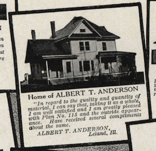 image of GVT No 115 showing home and testimonial of Albert T. Anderson of Leland Illinois
