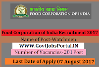 Food Corporation of India Recruitment 2017– 281 Watchmen