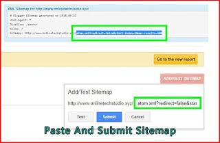 Paste sitemap and submit-google search console