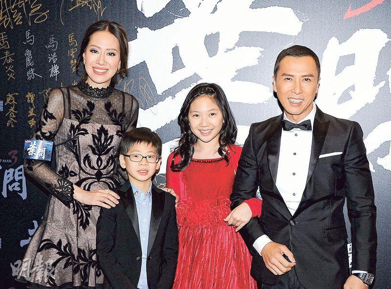 Family photo of the actor &  director, married to Cissy Wang, famous for Ip Man.