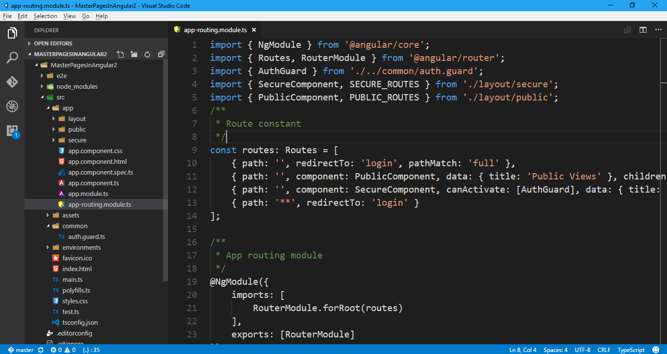Multiple master pages in Angular2 and TypeScript Application ~ Full