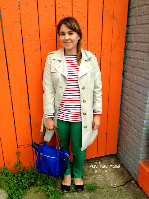Stripe and colored jeans