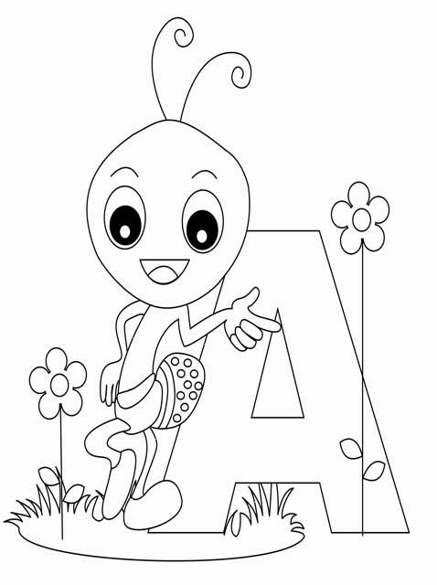 Kids Page A is for Ant Worksheet