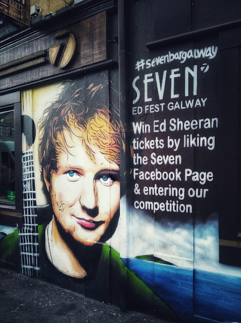 Ed Sheeran's face on a wall in Galway