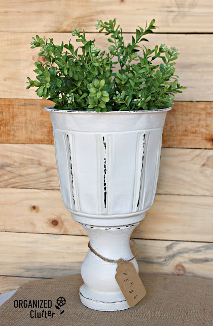 DIY Planter Urn from Thrift Shop Parts organizedclutter.net