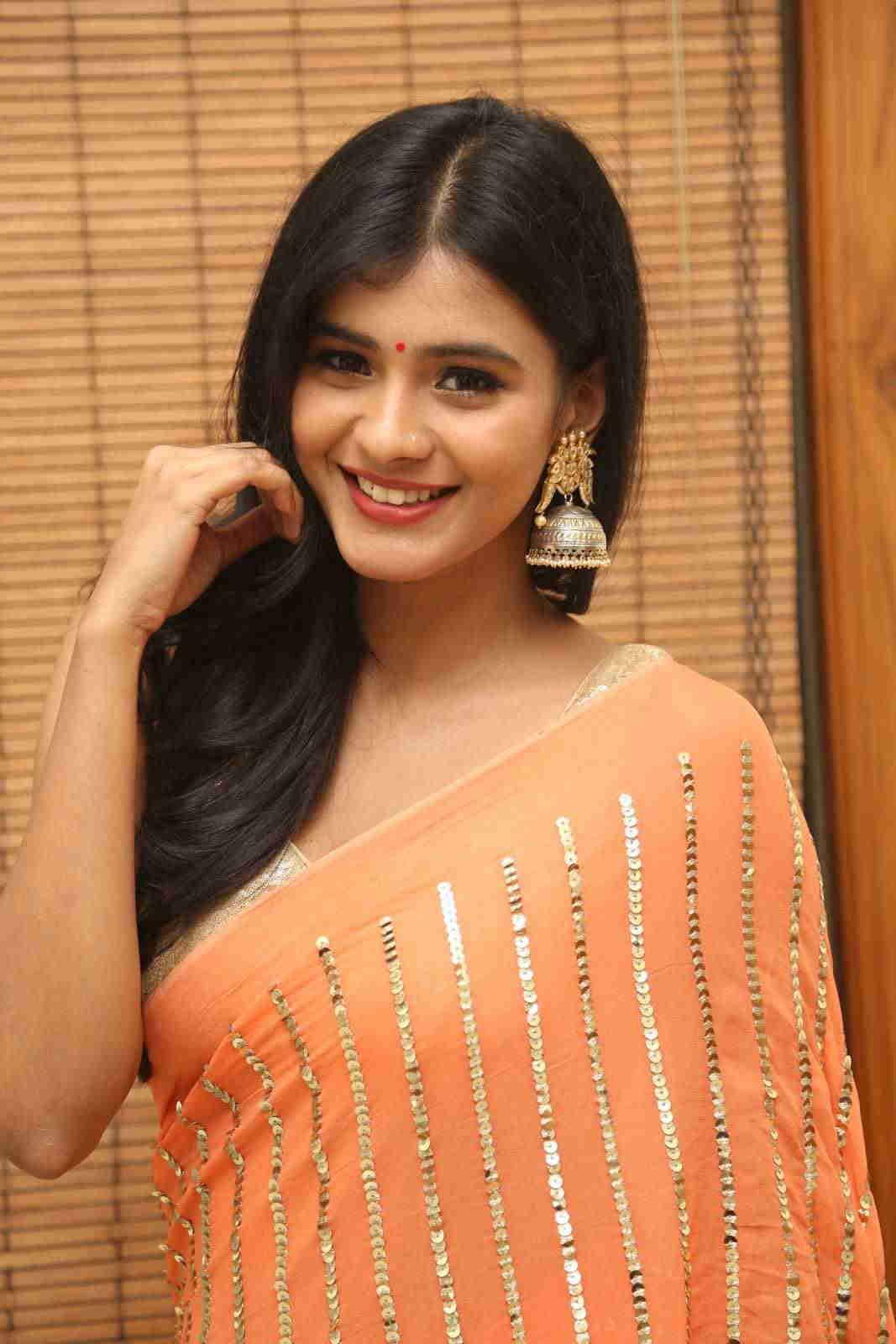 Hebah Patel In Orange Saree At Telugu Movie Audio Function