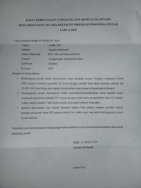 Contoh Surat Pernyataan Tanggung Jawab Mutlak (SPTJM) Pencairan Dana Program Indonesia Pintar