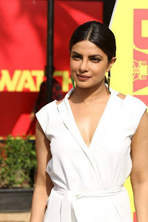 Priyanka Chopra in white gown by Paule Ka promotes Hollywood movie Baywatch