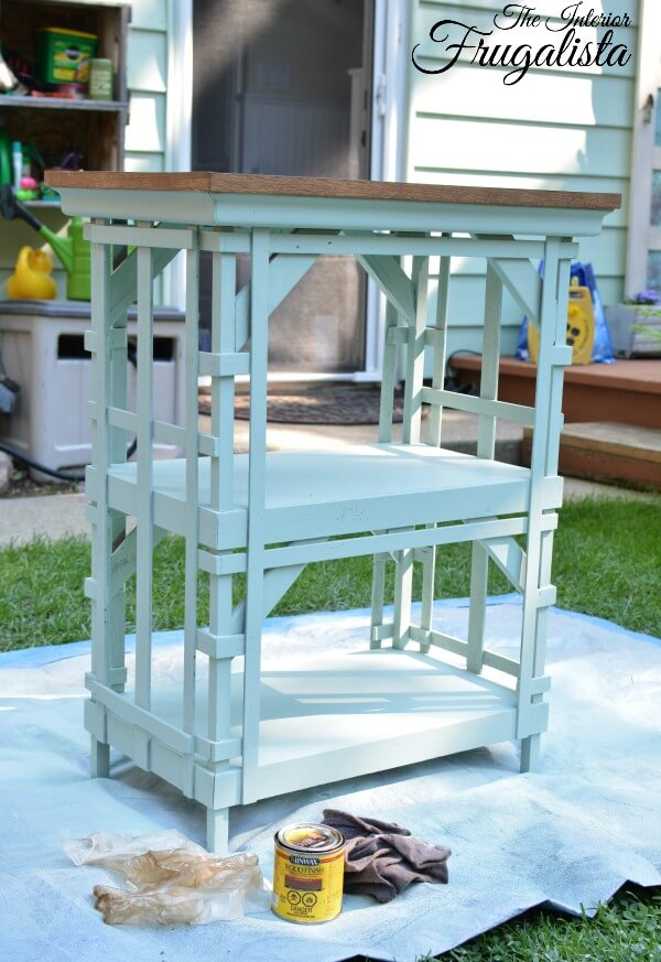 Outdoor Portable Beverage Cart Stained Top