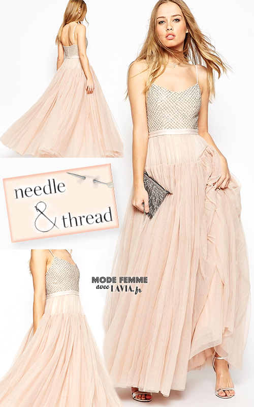 Robe de soirée nude en tulle Needle & Thread
