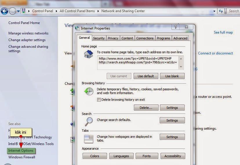 cara membuka network sharing center di window 7