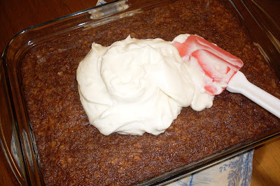 Saucepan Oatmeal cake with Cream Cheese frosting.