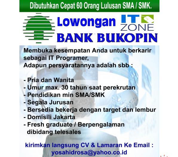 Info Lowongan Kerja Terbaru Di Banyuwangi 2013 Lulusan Sma Info Terbaru 2016 Info Harian Terbaru Lowongan Kerja Terbaru Di Bank Bukopin Untuk Lulusan Smasmk Terbaru