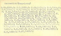 "First index card of the ""Recreation (Compulsory)"" topic from the D Card Catalog."