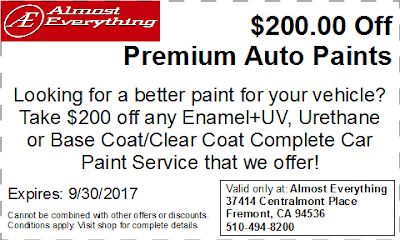 Discount Coupon $200 Off Premium Auto Paint Sale September 2017