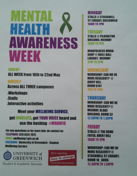 Medway Students Mental Health Awareness Week