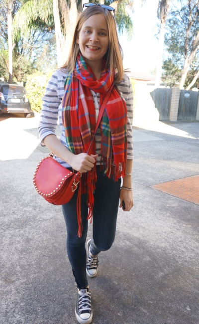SAHM Style: skinny jeans, converse, print mixing with tartan scarf and stripes | Away From Blue