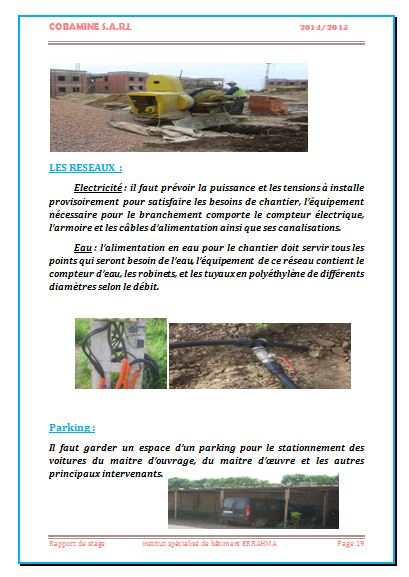 rapport de stage chef de chantier batiment
