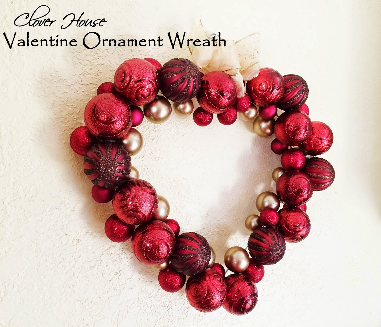 Clover House Valentine Ornament Wreath Using A Clothes Hanger
