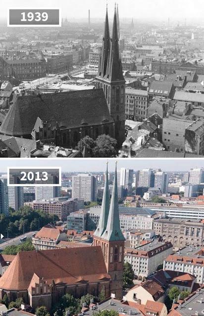 Antes y después Iglesia de San Nicolás, Berlín